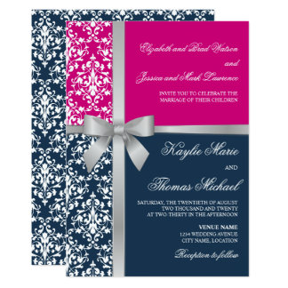Damask Faux Silver Ribbon Navy Fuchsia Wedding Invitation
