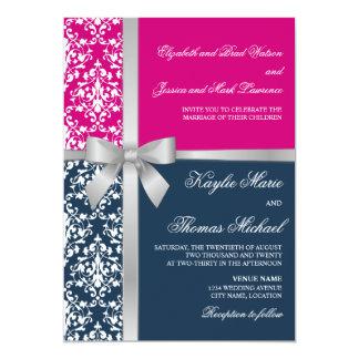 Damask Faux Silver Ribbon Navy Fuchsia Wedding 5x7 Paper Invitation Card