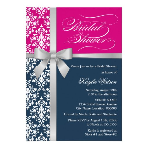 Damask Faux Silver Ribbon Navy Pink Bridal Shower Custom Invites