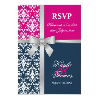 Damask Faux Silver Ribbon Navy Wedding RSVP Card