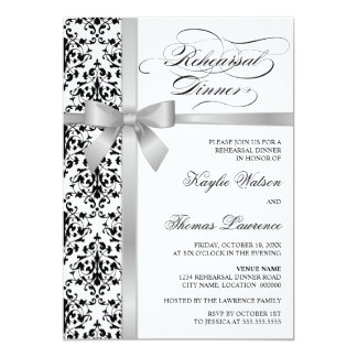 Damask Faux Silver Ribbon Rehearsal Dinner Card