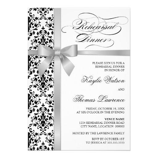 Damask Faux Silver Ribbon Rehearsal Dinner Invitation