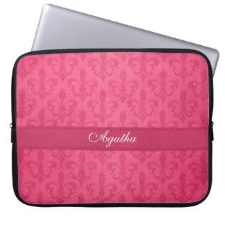 Damask  fleur de lis named dark pink laptop case