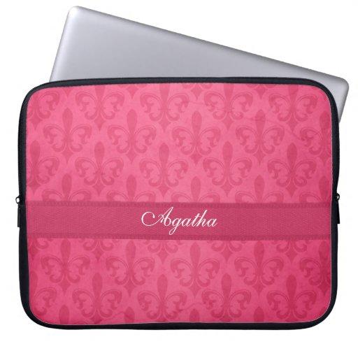 Damask  fleur de lis named dark pink laptop case laptop sleeve