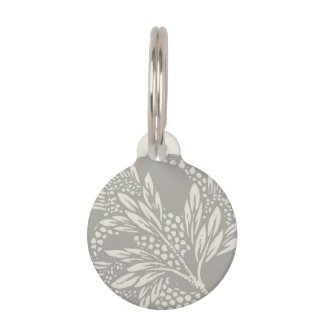 Damask Floral Art Nouveau Gray Wedding pattern Pet Name Tag