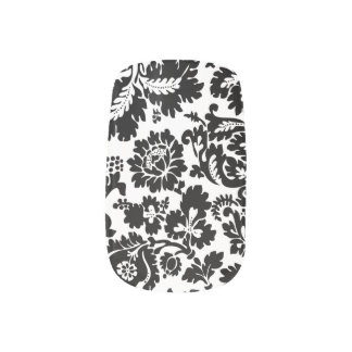 Damask Floral Black and Whtie Minx Nail Art