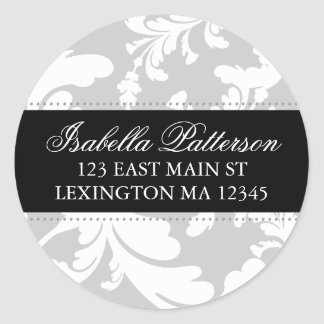 Damask Floral Circle Return Address Label Classic Round Sticker
