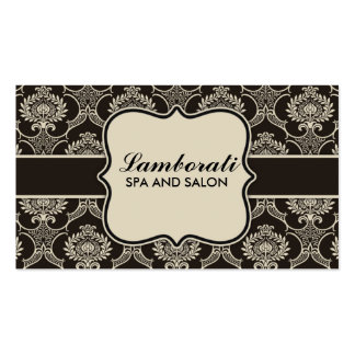 Damask Floral Elegant Cosmetologist Fashion Retro Business Card Template