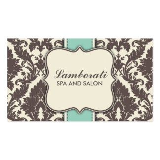 Damask Floral Elegant Modern Brown Beige and Green Business Cards