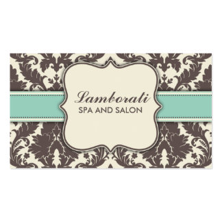 Damask Floral Elegant Modern Brown Beige and Green Double-Sided Standard Business Cards (Pack Of 100)