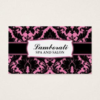 Damask Floral Elegant Modern Pink and Black Business Card
