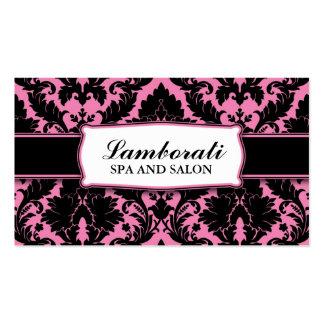 Damask Floral Elegant Modern Pink and Black Double-Sided Standard Business Cards (Pack Of 100)