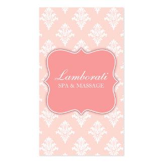 Damask Floral Elegant Modern Pink Professional Double-Sided Standard Business Cards (Pack Of 100)