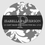 Damask Floral Monogram Circle Address Label Classic Round Sticker