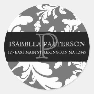 Damask Floral Monogram Circle Address Label Classic Round Sticker