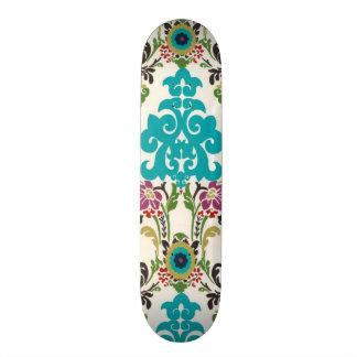 Damask Floral Patterns Plum Turquoise Skateboard