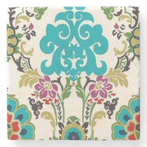 Damask Floral Patterns Plum Turquoise Stone Coaster