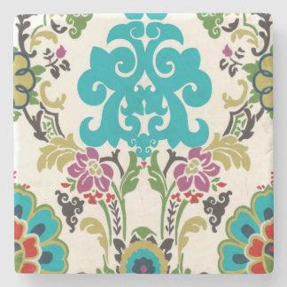 Damask Floral Patterns Plum Turquoise Stone Coaster