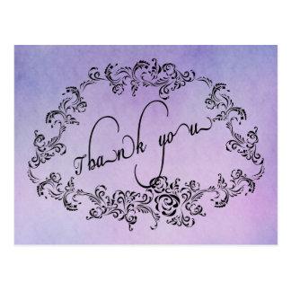 Damask floral purple Thank You Card Postcard
