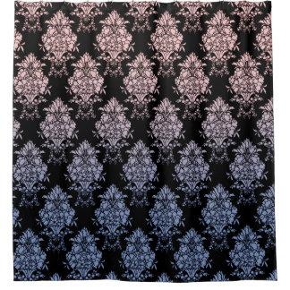 Damask Floral Rose Quartz and Serenity Blue Shower Curtain