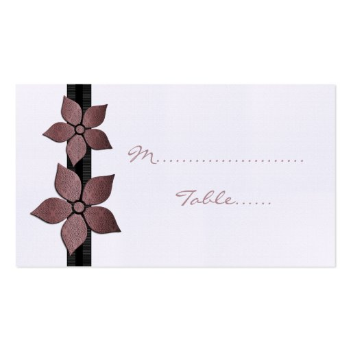 Damask Flowers Striped Border Place Card Business Card