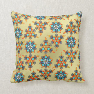 Damask Flowery Pattern In Teal Orange and Gold Pillow