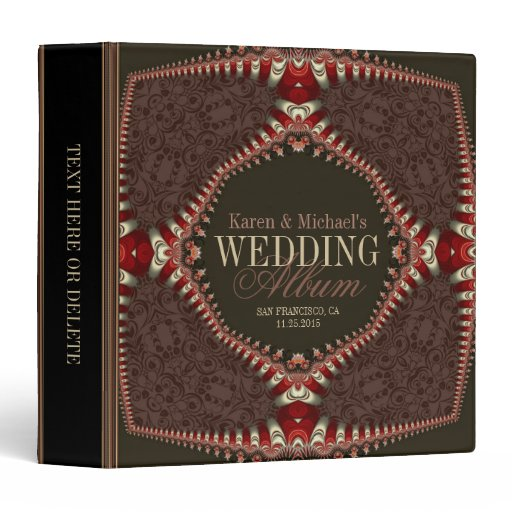 Damask Fractal Lace Wedding Album Binder