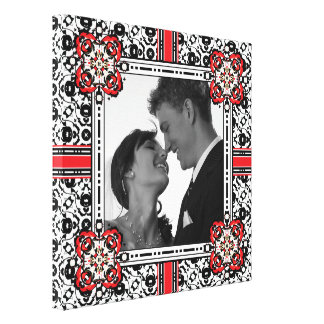 Damask Frame for Black and White Wedding Photo Canvas Print