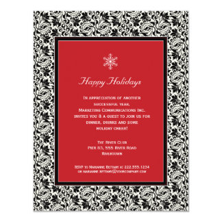 Damask Framed Holiday Party Invitation