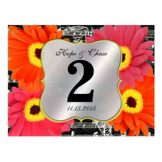 Damask Fuchsia Gerber Daisy Wedding Table Number Post Card