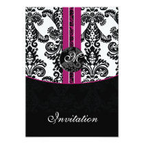 damask fuchsia wedding invitation