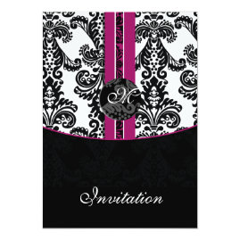 Black and Fuchsia Damask   Wedding Invitations