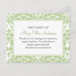 """Damask Funeral Note Card Flat Bereavement Note<br><div class=""""desc"""">A thank you note card it is a flat card. Personalize it to your message. Great to thank those who supported you during your time of bereavement. Green Damask Thank You Note Card Flat</div>"""