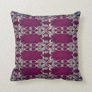 Damask Fuschia and Silver throw pillow