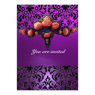 DAMASK GEM AND PINK ROSES MONOGRAM 5X7 PAPER INVITATION CARD