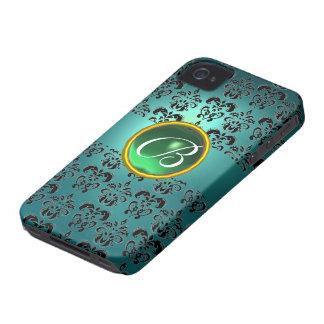 DAMASK GEM MONOGRAM blue black green iPhone 4 Covers