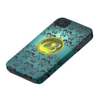 DAMASK GEM MONOGRAM blue black yellow iPhone 4 Case-Mate Case