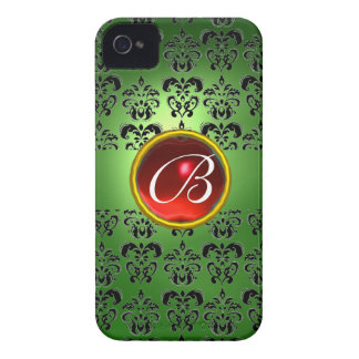 DAMASK GEM MONOGRAM green black red iPhone 4 Cover