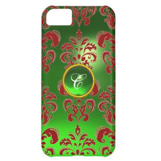 DAMASK GEM MONOGRAM green red iPhone 5C Cases