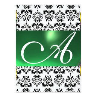 DAMASK GEM MONOGRAM green white 6.5x8.75 Paper Invitation Card