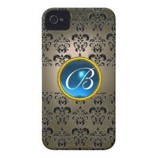 DAMASK GEM MONOGRAM grey black blue iPhone 4 Case-Mate Case