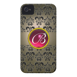 DAMASK GEM MONOGRAM grey black pink fuchsia iPhone 4 Case-Mate Cases