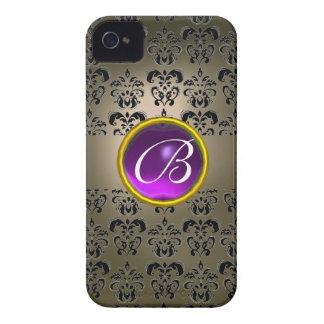 DAMASK GEM MONOGRAM grey black purple iPhone 4 Cases