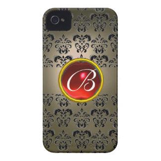 DAMASK GEM MONOGRAM grey black red iPhone 4 Case-Mate Case
