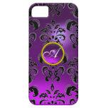 DAMASK GEM MONOGRAM purple iPhone 5 Cover