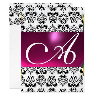 DAMASK GEM MONOGRAM purple pink black white silver Card