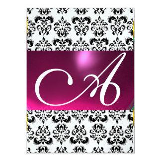 DAMASK GEM MONOGRAM purple pink ice white Card