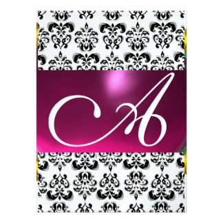 DAMASK GEM MONOGRAM purple pink ice white Personalized Announcement
