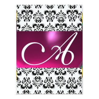 DAMASK GEM MONOGRAM purple pink white Card