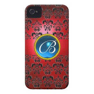 DAMASK GEM MONOGRAM red black blue iPhone 4 Cases